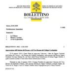 Approvazione dell'elezione del Decano e del Vice-Decano del Collegio Cardinalizio