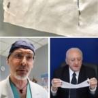 """De Luca mostra """"mascherine di Bunny il coniglietto"""" di Borrelli e Boccia. Dott. Pone che denunciò ricoverato con Covid-19"""