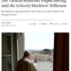 Conti svizzeri della Segreteria di Stato congelati nell'ambito dell'indagine della giustizia vaticana su investimenti immobiliari