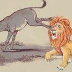 Dare il calcio dell'asino (del debole vile al vecchio leone, dopo il cinghiale e il toro)